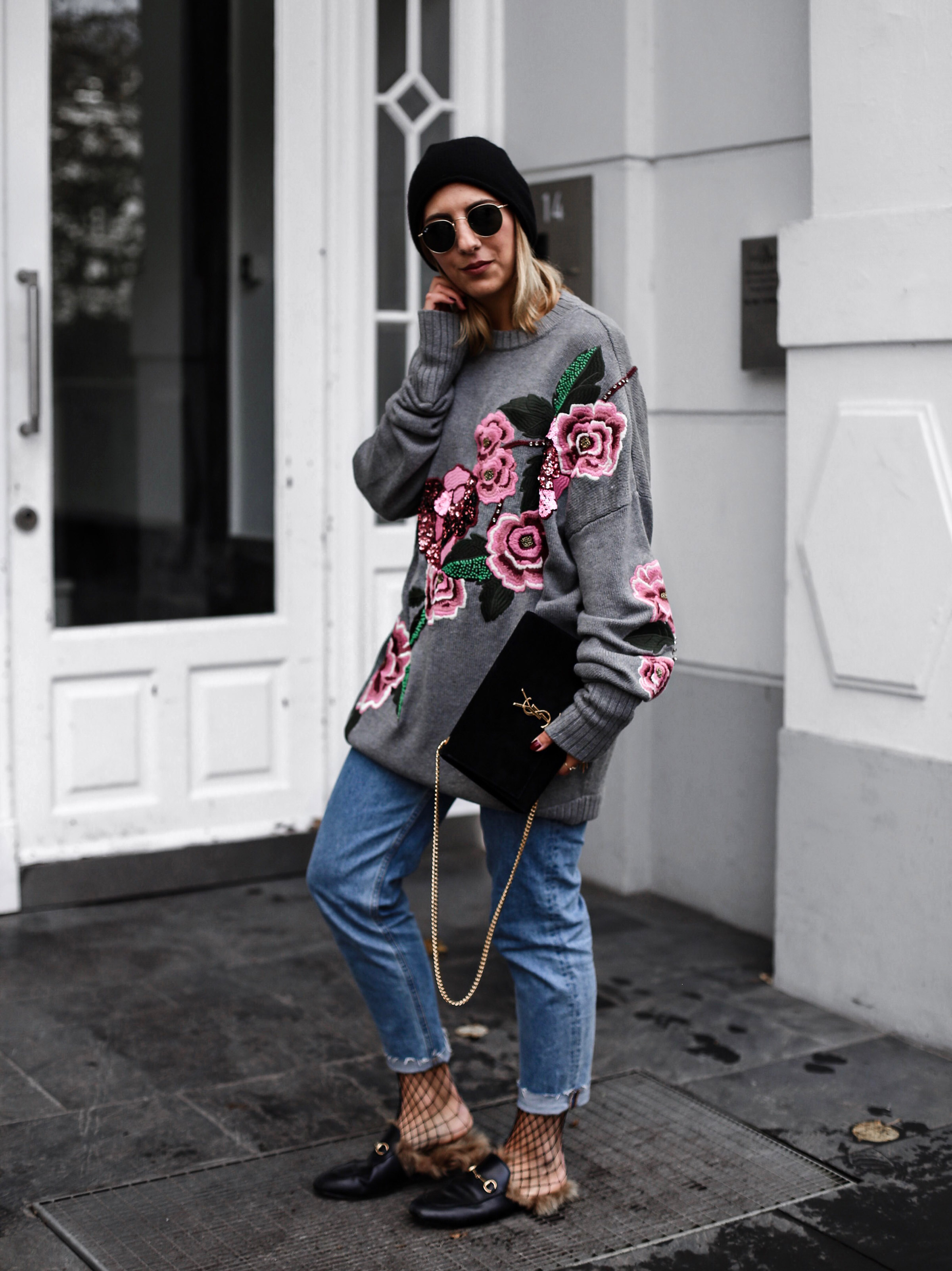da408e28b05 flower knit jumper and gucci princetown loafer - Aylin König