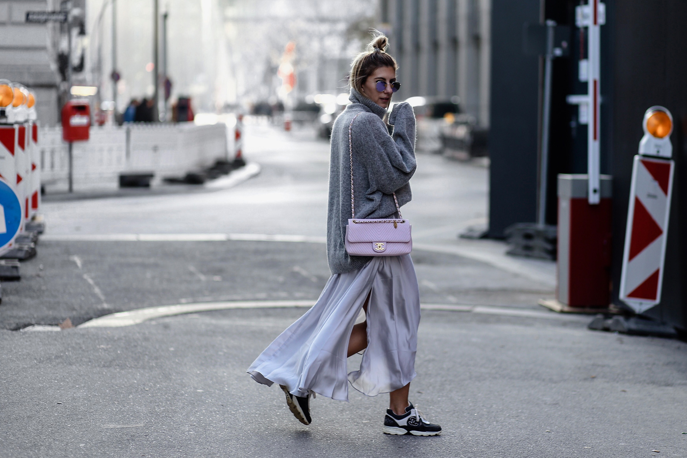 shades of grey with chanel sneaker