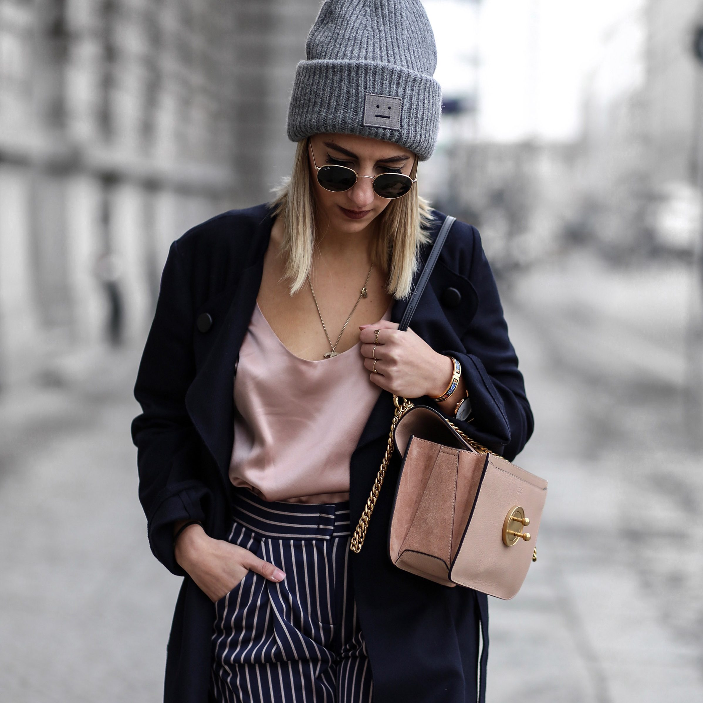 blue and soft pink street style